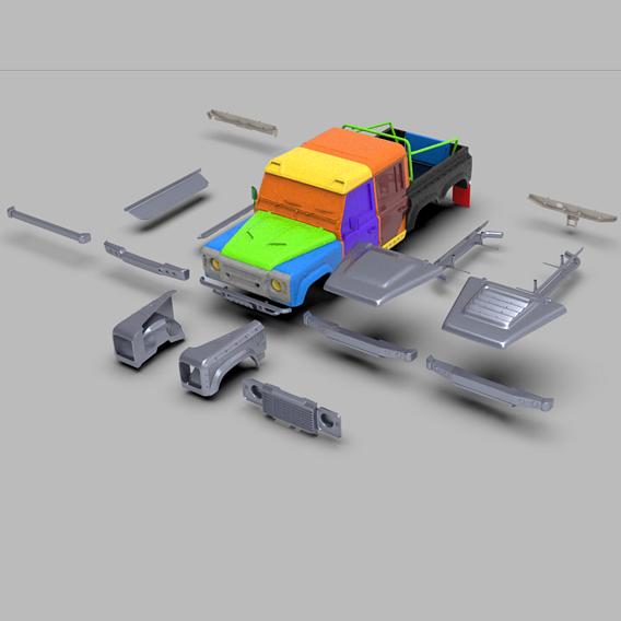 LAND ROVER DEFENDER 6X6 3D PRINT MODEL
