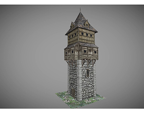 3D asset low poly medieval tower 2