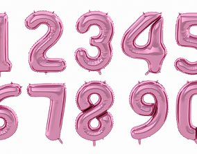 Balloon Numbers Pink Color 3D model