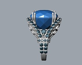 3D printable model ring with topaz and diamonds