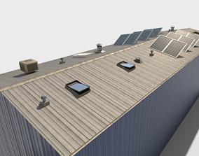 low-poly Industrial Roof elements 3d Model AR VR
