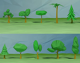 Lowpoly trees pack 3D asset