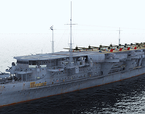 Japanese aircraft carrier Ryujo with A5M2 D3A1 3D asset