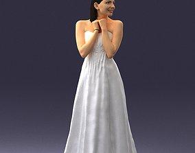 celebration Bride in white dress 0388 3D Print Ready