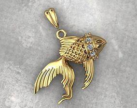 silver 3D printable model fish pendant