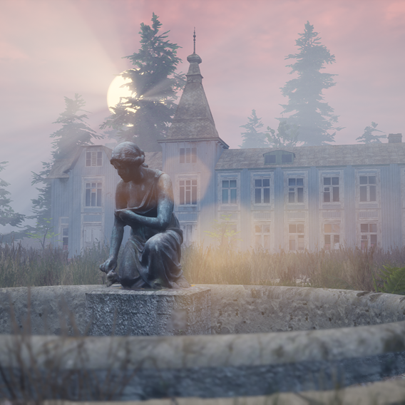 Old Abandoned Mansion Estate with Fountain