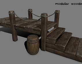 wooden pier stairs 3D model realtime