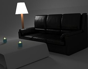 3D Beautiful room with a leather sofa