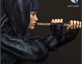 3D asset animated Ninja Onna