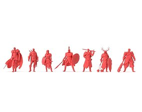 Low Poly Posed People Pack 13 - Warrior 3D asset