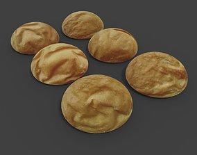 Bread or bun rolls from bakery 3D asset