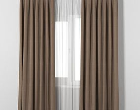 IKEA VILBORG brown thick curtains made of 3D model