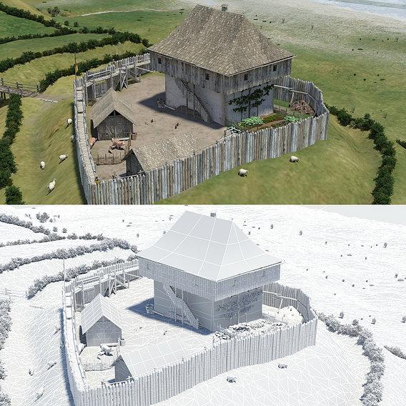 Tower castle reconstruction ca. 1150