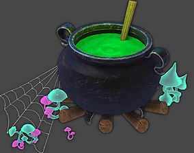 pumpkin 3D Vat with potion Halloween