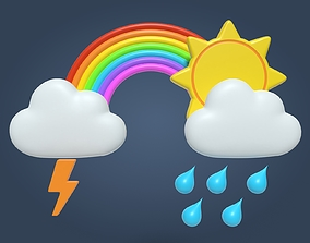 Cartoon Weather Icons 3D model