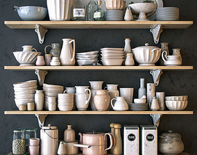 Shelves with dishware in white 3D