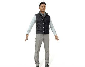 Confident business man in a west 3D model