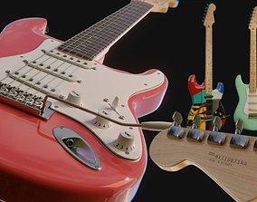 Electric Guitar Fender Stratocaster - 2 colors 3D model 3