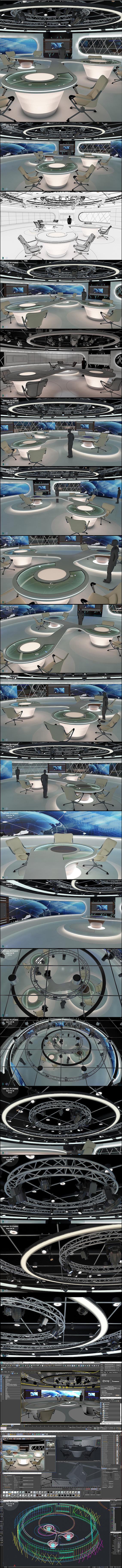 Virtual TV Studio News Set 28 - 3D Model Designs