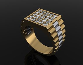 Signet Diamond Cluster Rolex Link Two 3D printable model 2