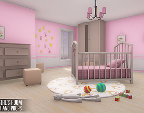 3D model Small girls room - interior and props