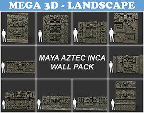 Low poly Mayan Inca Aztec Wall Modular Pack 3D asset 1