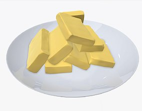 Butter slices on plate 3D