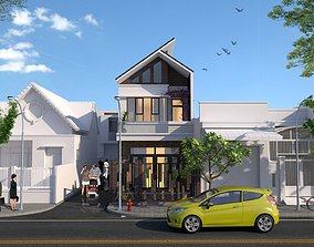 Exterior House design 3d model animated