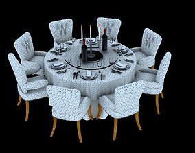 Dining Table And Chairs Set 3D printable model