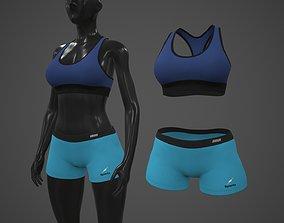 3D model Female Sportswear gym clothing PBR 3
