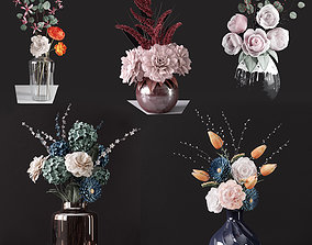 3D Bouquets of flowers in vases