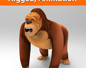 animated 3D Cartoon Model Gorilla Animated and Rigged