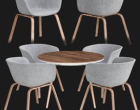 3D model Sultan Walnut Modern Round Dining Table