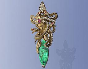 Mythology Diamond and Ruby Pendant 3D printable model