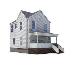 3D White Detached House