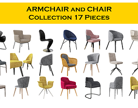 3D model Chair and Armchair Collection 17 pieeces