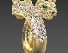 3D printable model silver jaguar ring female