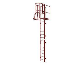 3D asset Fire escape stair Red
