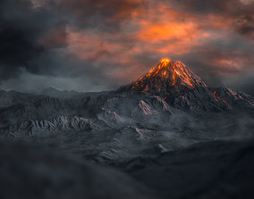 3D model Volcano with Summer and Winter Textures