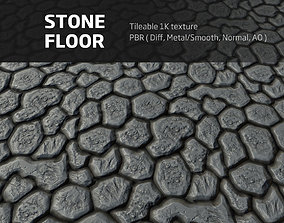 3D model Stone floor - Tileable PBR 1K textures
