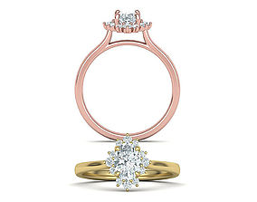 Engagement Diamond ring with Oval Shaped 3D print model 2