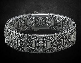 Stylish bracelet in silver with a cross 265 3D print model
