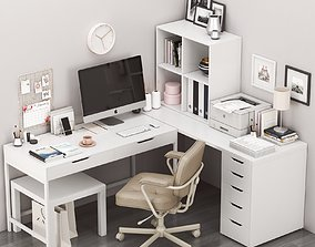 Ikea corner workplace with alex table and alejall chair 3D