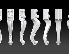 CABRIOLE CARVED Furniture Leg 3D Models set - 014