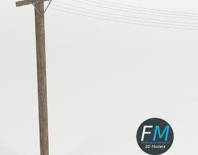 Wooden telephone pole 3D PBR