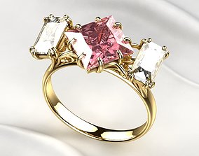 Pink Sapphire Princess Gold Ring 3D printable model