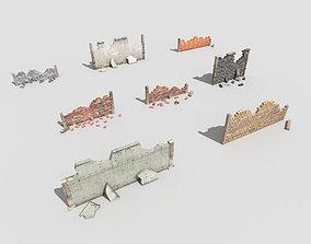 8 broken walls pack 3D model