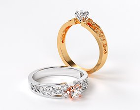 classic gold engagement ring with 4mm 3D printable model