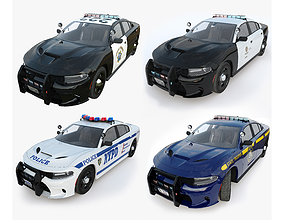 Four police cars of the Dodge Charger SRT and 3D model 1