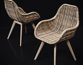 RATTAN DINING CHAIR WITH ARMS 3D model